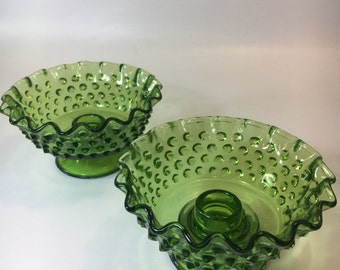 Candle holder set Hobnail green glass ruffle edge bowl