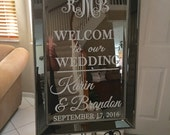 Welcome Wedding Mirror Vinyl Decal/Bridal Shower/Bridal Brunch, Tea/Sweet 16/Baby Shower/ Retirement Welcome Sign