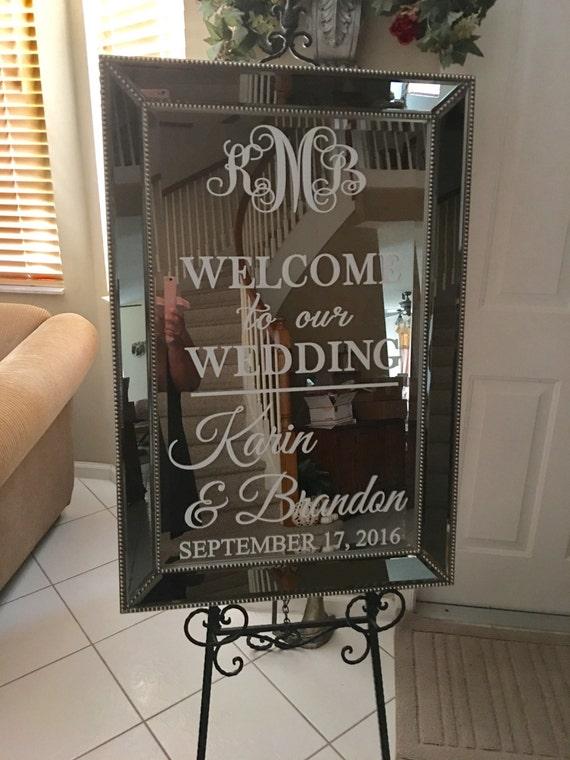 Welcome Wedding Mirror Vinyl Decal Bridal Shower Bridal