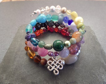 Celtic Knot Beaded Memory Wire Bracelet, Celtic Jewelry, Colorful Beads