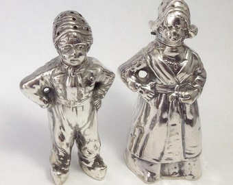 800 Silver Dutch Boy Girl Figural Salt  Pepper Shakers