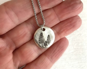 Pine Tree Necklace, rustic silver stamped pewter charm pendant nature mountain simple minimal tiny small hike camp climb gift for her