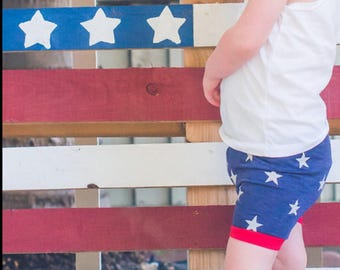 Girls Shorts Stars baby toddler Red White and Blue 6 9 12 18 24 months 2T 3T 4T 5T patriotic Fourth of July