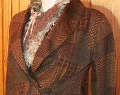 VINTAGE Ralph Lauren LRL Lauren Jeans Co  Soft Wrap Jacket XL Brown Patch Plaid Equestrian Sweater