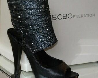rare BCBGeneration BCBG Ardelis Vintage Platform Peep Toe Heel Ruched Leather Metallic Pewter Studded Studs 50 Shades Bondage Black Boots
