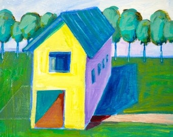 Yellow Barn 12 x 12 inches original acrylic painting, Simple painting of house, new england house, landscape painting, trees