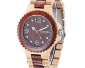 Wood quartz wrist watch