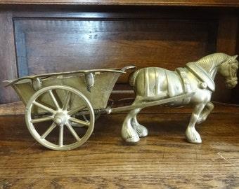 Vintage English Brass Large Horse Wagon Cart Ornament Figurine Sculpture Statue circa 1950-60's / English Shop