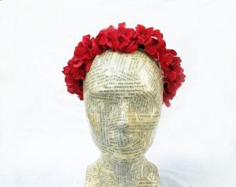 Red Velvet Flower Crown, Cherry Blossom Flower Crown, Valentines Day Headband,  Red Flower Crown, Red Flower Headband, Valentines Crown