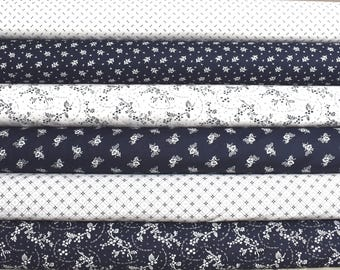Cheddar and Indigo Fat Quarter Bundle of 6 by Nancy Gere for Windham Fabrics