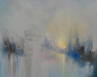 Abstract Gray Blue Minimalist Wall Decor Acrylic Painting - Mystic Dream - 24 x 24 - Skye Taylor