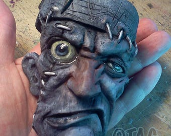 LIMITED EDITION Black and White Frankenstein Ornament by Tom Taggart