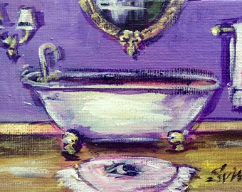 Paris Bathroom Painting Purple bathroom art