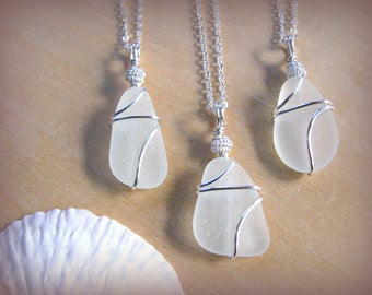 Natural Sea Glass Pendants for Beach Wedding Pale Real Beach Glass Necklaces Bridesmaids Gifts Wire Wrapped Genuine Seaglass Wedding Jewelry