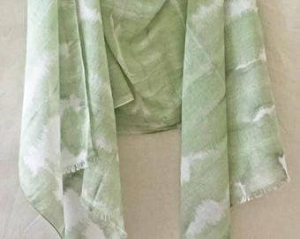 Green Scarf, Womans Green Scarf, Olive Scarf, Shibori Scarf, Hand Painted Scarf, Green Cotton Scarf, Summer Scarf, Pale Green Scarf, USA