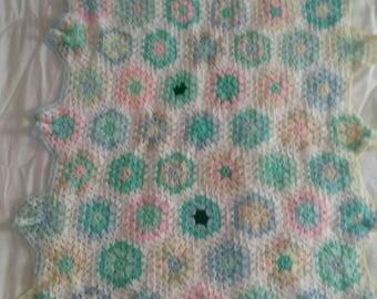 Hand Crochet, Baby Blanket, Throw, Crocheted, Pastels, Whimsical, Shower Gift
