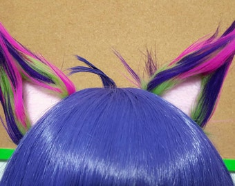 Spiky Lime Green Nebula and Light Pink Clip on Cat Ears