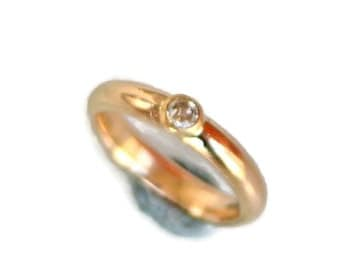 18k Gold and Diamond Ring or Wedding Band - Comfort Fit, Bezel Set