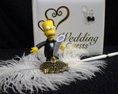 Wedding Guest Book Pen and Holder Homer & Marge The Simpsons Simpson top Funny Brat OR Lisa