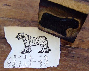 French rubber stamp Tiger big cat feline Africa zoo animal vintage school