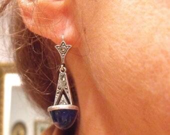 Genuine Lapis Lazuli Marcasite earrings  Pierced Lapis ans Sterling drop earrings