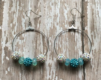Gorgeous blue and white sparkle hoop earrings