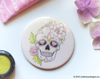 Peony & cherry blossom sugar skull tattoo pocket vanity mirror
