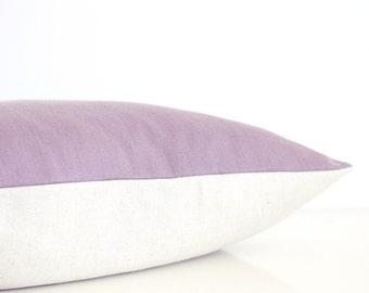Mauve throw pillow - organic cotton with natural linen, modern minimalist pillow