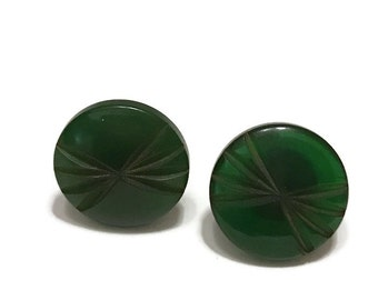 Green Bakelite Carved Art Deco 1940s Screw Back Earrings