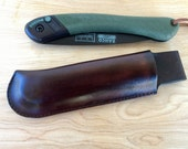 Leather Belt Sheath for the Bahco Laplander folding saw.
