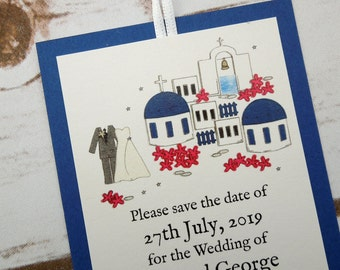 Santorini Wedding Save the Date Cards/Luggage Tags