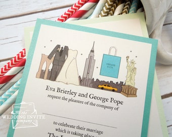 New York Postcard Wedding/Evening Invitations