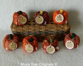 "Orange Pumpkins ~ 4"" Tall Seven Different Orange Pumpkins ~ Home Grown Orange Pumpkins ~ Handmade Box Included ~ Harvest Decorative Pumpkins"