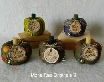 """Pumpkins ~ 4"""" Tall Five Different Green or Purple Pumpkins ~ Home Grown Pumpkins ~ Handmade Box Included ~ Harvest Decorative Pumpkins"""