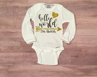 Hello World Onesie - Baby Girl - Newborn Photo Prop - Newborn Girl Coming Home Outfit - Newborn - Baby - Baby Shower - Baby Girl Clothes