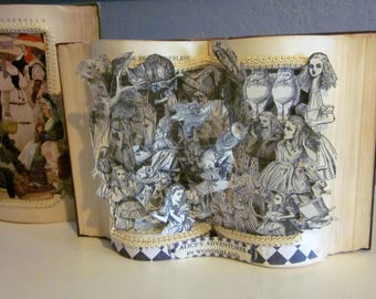 Alice in Wonderland Altered Book pop-up Style antique 1921 book restored and turned into a work of Art great wedding gift