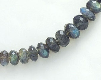 22 Labradorite Faceted Rondelle Beads 6 - 8 mm.  :gs8176