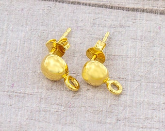 1 Pair of 925 Sterling Silver 24k Gold Vermeil Style Post Stud Earrings 6mm Half Ball with Opened Loop.  :vm0890