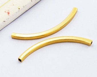 2 of 925 Sterling Silver 24k Gold Vermeil Style Curve Tube Beads 2.5x40 mm.  :vm0905