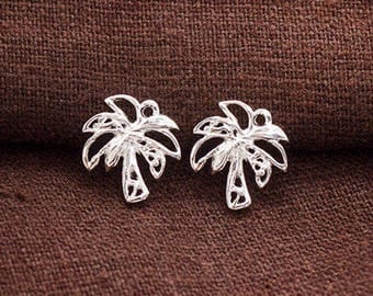 2 of 925 Sterling Silver Palm Tree Charms 12x13mm . , Polish Finished.  :tm0172