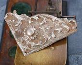 Antique metal filigree plate, embellishment, connector, finding, dark patina