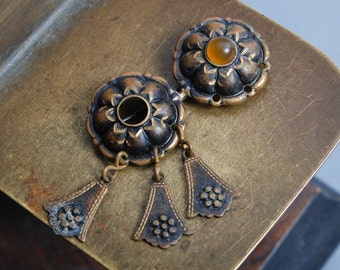 Part of Vintage ethnic style brooch, brass part of national brooch.