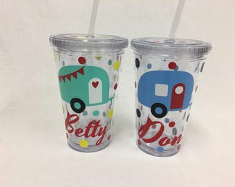 Happy Camper Personalized acrylic tumbler, name or monogram, retro, Available in skinny, standard, sport bottle, mason, kiddie & XL cup