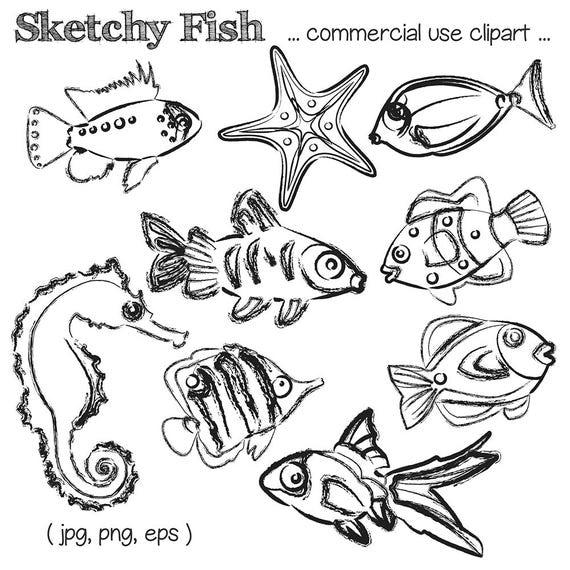 Strand clipart schwarz weiß  Fisch skizziert Clipart skizzierte Fisch Clip Art