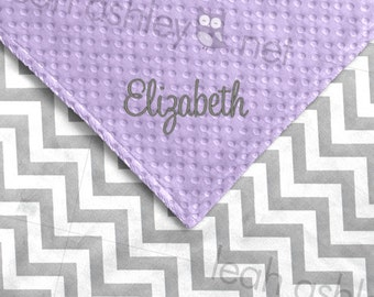 Baby Blanket - Gray Chevron Minky, Lavender Minky Dot - BB1
