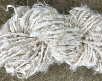 Handspun Yarn Suri Alpaca White Shaggy Bulky
