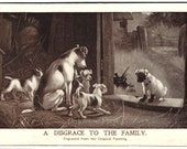 Disgrace to the Family Postcard, Dogs, From Painting by Stanley Berkeley, Antique Victorian Sepia Ephemera c1908, FREE SHIPPING