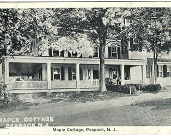 Peapack N.J. Maple Cottage Postcard, Antique B&W New Jersey Ephemera c1930s, Convalescent Home for Women, FREE SHIPPING