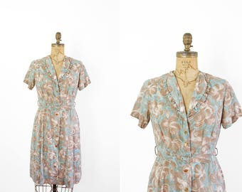 1950s Dress - 50s Dress - Brown and Teal Floral Print Day Dress Short Sleeve Shirtdress