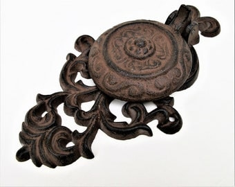 Vintage Cast Iron Door Knocker | Door Accessory | Metal Wall Medallion